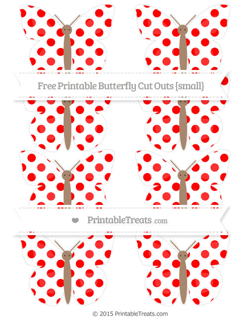 Free Red Dotted Pattern Small Butterfly Cut Outs