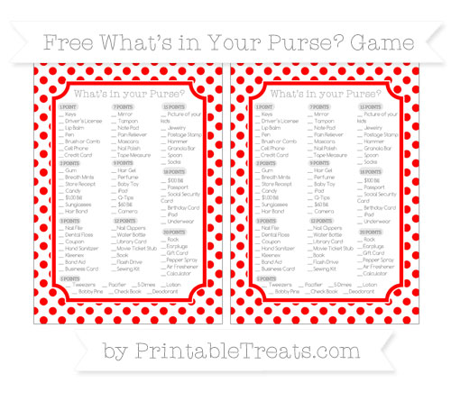 Free Red Dotted Pattern What's in Your Purse Baby Shower Game