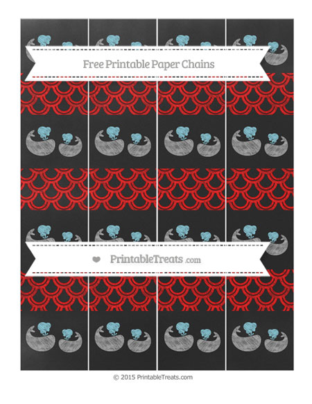 Free Red Fish Scale Pattern Chalk Style Baby Whale Paper Chains