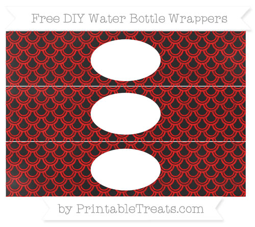 Free Red Fish Scale Pattern Chalk Style DIY Water Bottle Wrappers