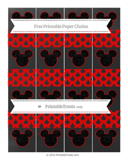 Free Red Fish Scale Pattern Chalk Style Mickey Mouse Paper Chains
