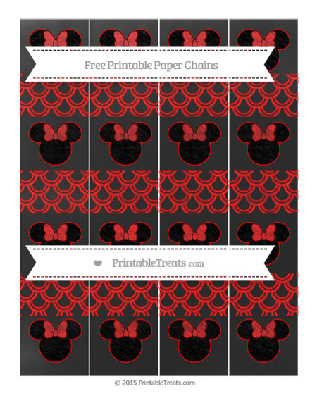 Free Red Fish Scale Pattern Chalk Style Minnie Mouse Paper Chains
