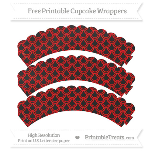 Free Red Fish Scale Pattern Chalk Style Scalloped Cupcake Wrappers