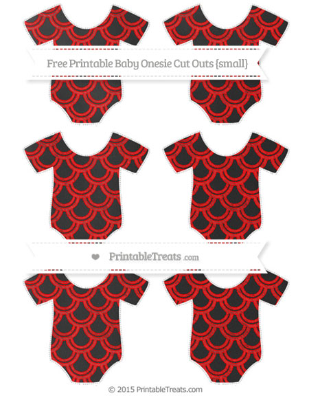 Free Red Fish Scale Pattern Chalk Style Small Baby Onesie Cut Outs