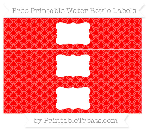 Free Red Fish Scale Pattern Water Bottle Labels