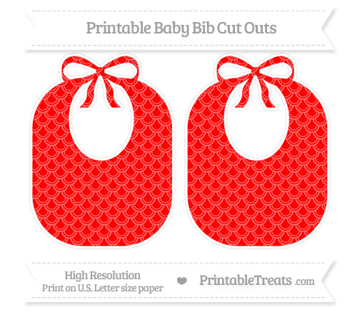 Free Red Fish Scale Pattern Large Baby Bib Cut Outs