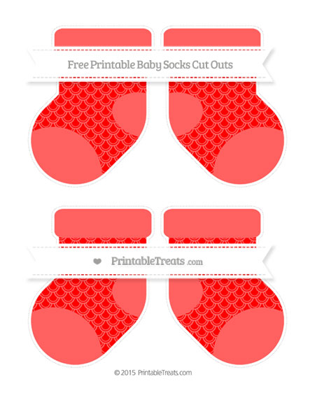 Free Red Fish Scale Pattern Medium Baby Socks Cut Outs