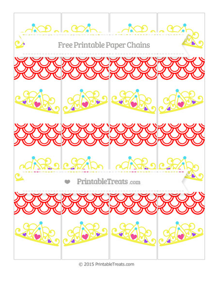 Free Red Fish Scale Pattern Princess Tiara Paper Chains