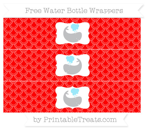 Free Red Fish Scale Pattern Whale Water Bottle Wrappers