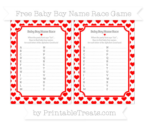 Free Red Heart Pattern Baby Boy Name Race Game