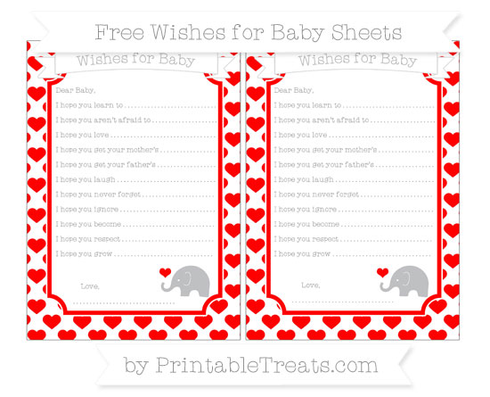 Free Red Heart Pattern Baby Elephant Wishes for Baby Sheets