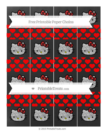 Free Red Heart Pattern Chalk Style Hello Kitty Paper Chains