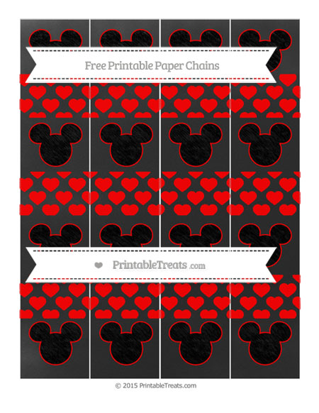 Free Red Heart Pattern Chalk Style Mickey Mouse Paper Chains