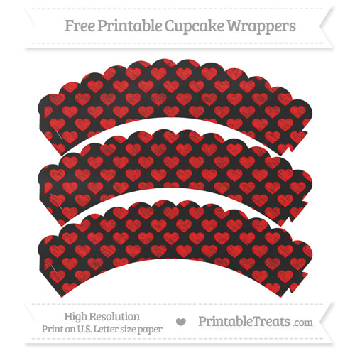 Free Red Heart Pattern Chalk Style Scalloped Cupcake Wrappers