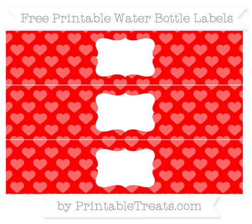 Free Red Heart Pattern Water Bottle Labels