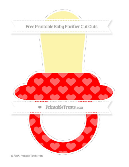Free Red Heart Pattern Extra Large Baby Pacifier Cut Outs