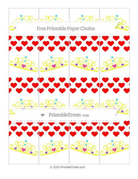 Free Red Heart Pattern Princess Tiara Paper Chains