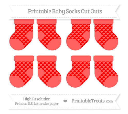 Free Red Heart Pattern Small Baby Socks Cut Outs