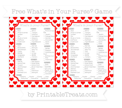 Free Red Heart Pattern What's in Your Purse Baby Shower Game