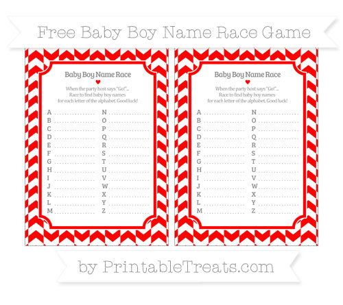 Free Red Herringbone Pattern Baby Boy Name Race Game