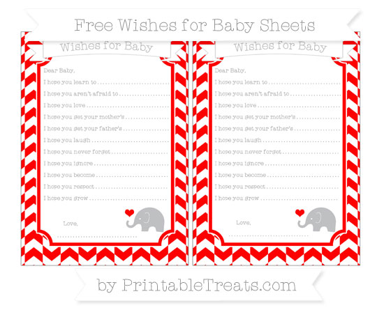 Free Red Herringbone Pattern Baby Elephant Wishes for Baby Sheets