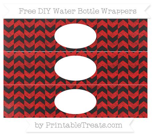 Free Red Herringbone Pattern Chalk Style DIY Water Bottle Wrappers