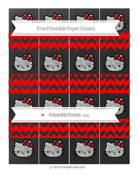 Free Red Herringbone Pattern Chalk Style Hello Kitty Paper Chains