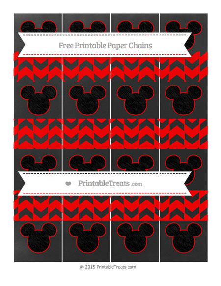 Free Red Herringbone Pattern Chalk Style Mickey Mouse Paper Chains