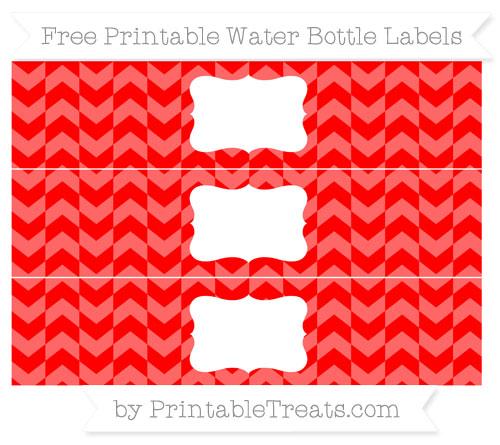 Free Red Herringbone Pattern Water Bottle Labels