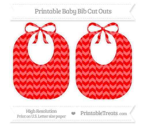 Free Red Herringbone Pattern Large Baby Bib Cut Outs