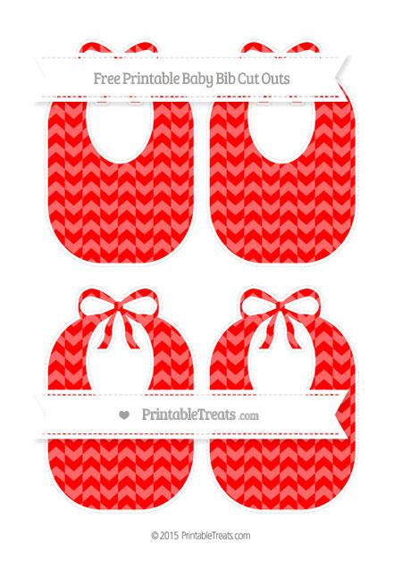 Free Red Herringbone Pattern Medium Baby Bib Cut Outs