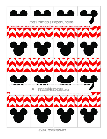 Free Red Herringbone Pattern Mickey Mouse Paper Chains
