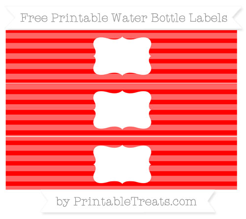 Free Red Horizontal Striped Water Bottle Labels