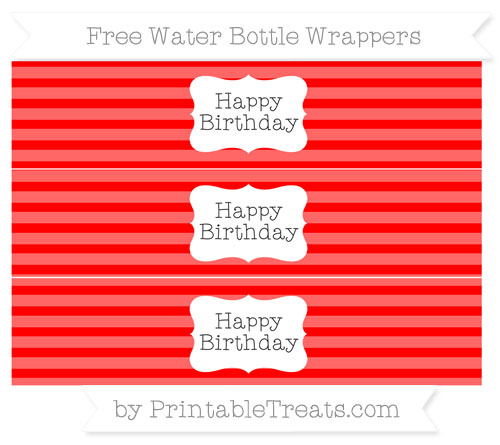 Free Red Horizontal Striped Happy Birhtday Water Bottle Wrappers