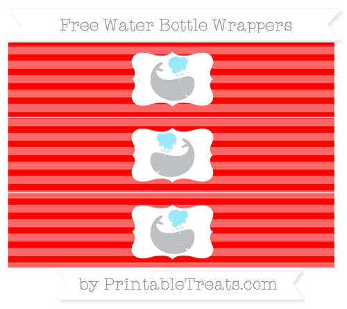 Free Red Horizontal Striped Whale Water Bottle Wrappers