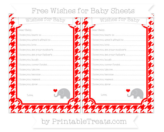 Free Red Houndstooth Pattern Baby Elephant Wishes for Baby Sheets