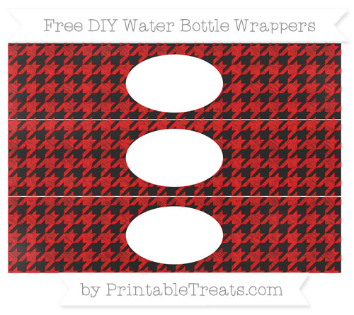 Free Red Houndstooth Pattern Chalk Style DIY Water Bottle Wrappers