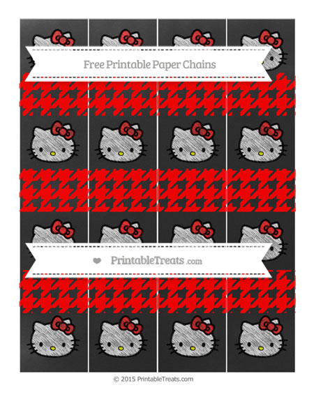 Free Red Houndstooth Pattern Chalk Style Hello Kitty Paper Chains
