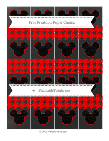 Free Red Houndstooth Pattern Chalk Style Mickey Mouse Paper Chains