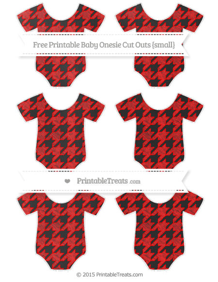 Free Red Houndstooth Pattern Chalk Style Small Baby Onesie Cut Outs