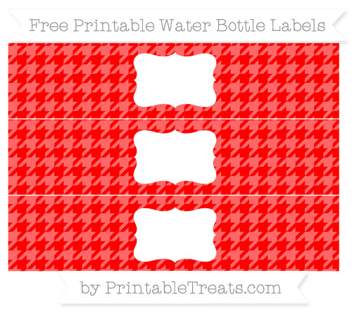Free Red Houndstooth Pattern Water Bottle Labels