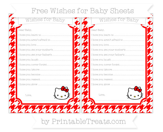 Free Red Houndstooth Pattern Hello Kitty Wishes for Baby Sheets