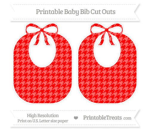 Free Red Houndstooth Pattern Large Baby Bib Cut Outs
