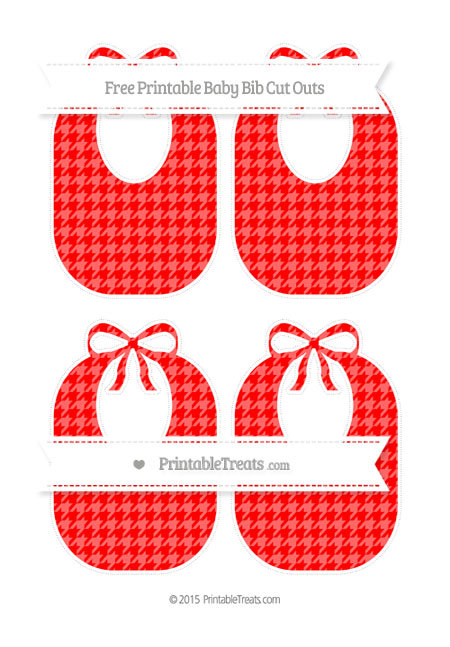 Free Red Houndstooth Pattern Medium Baby Bib Cut Outs
