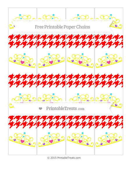 Free Red Houndstooth Pattern Princess Tiara Paper Chains