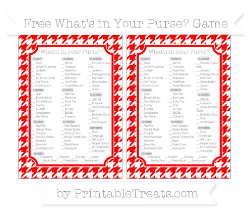 Free Red Houndstooth Pattern What's in Your Purse Baby Shower Game