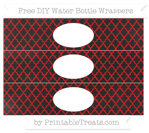 Free Red Moroccan Tile Chalk Style DIY Water Bottle Wrappers