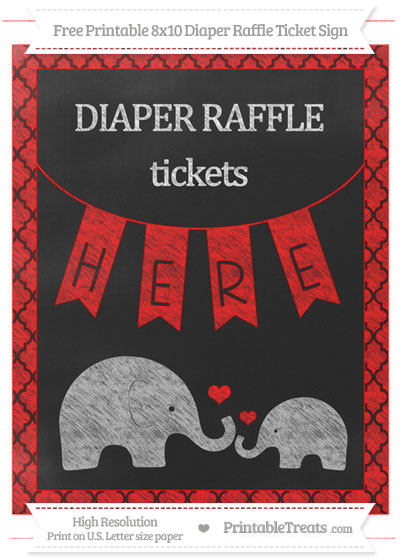 Free Red Moroccan Tile Chalk Style Elephant 8x10 Diaper Raffle Ticket Sign