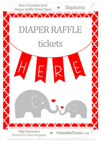 Free Red Moroccan Tile Elephant 8x10 Diaper Raffle Ticket Sign