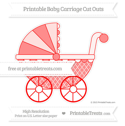 Free Red Moroccan Tile Extra Large Baby Carriage Cut Outs